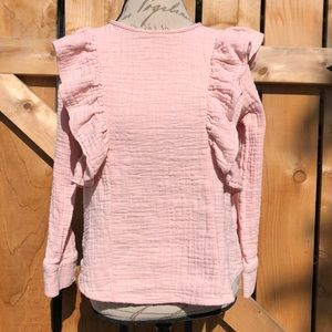 Lucky Brand pink ruffle top size sm